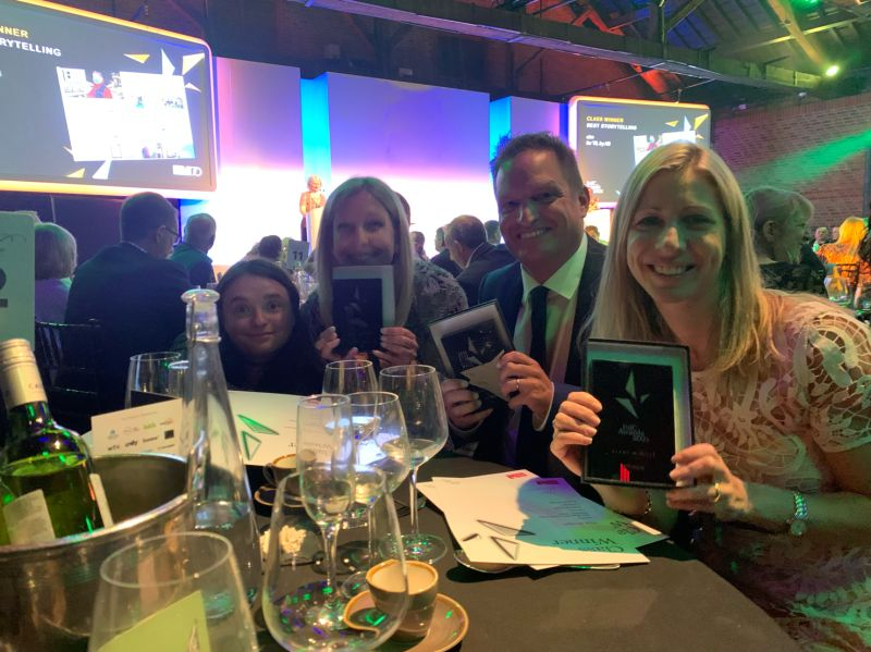 A group photo of the Sequel Group team celebrating award winning project at IoIC Awards 2021-2